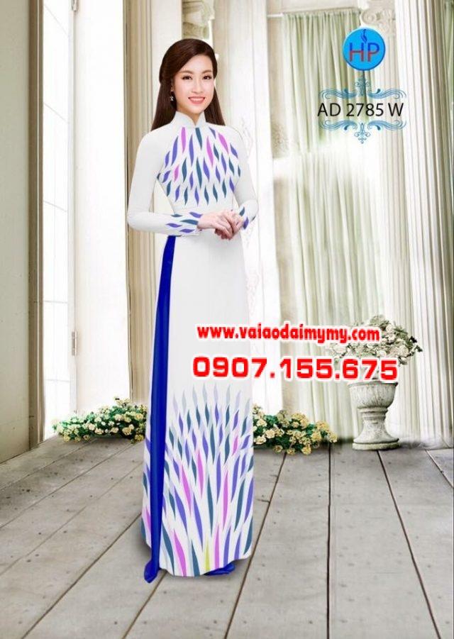 Vải áo dài hoa văn lập thể đẹp AD 2785