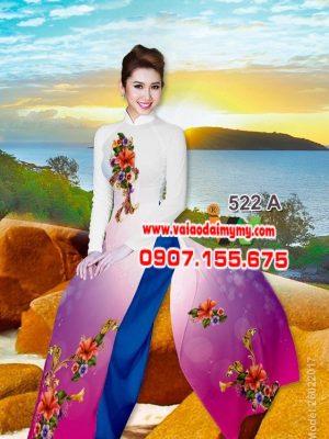 Vải áo dài hoa dâm bụt AD W522