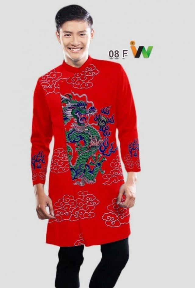 Vải áo dài nam in hình rồng và mây AD N08