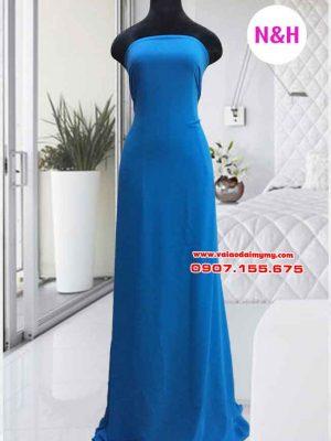 vải áo dài trơn màu xanh dương