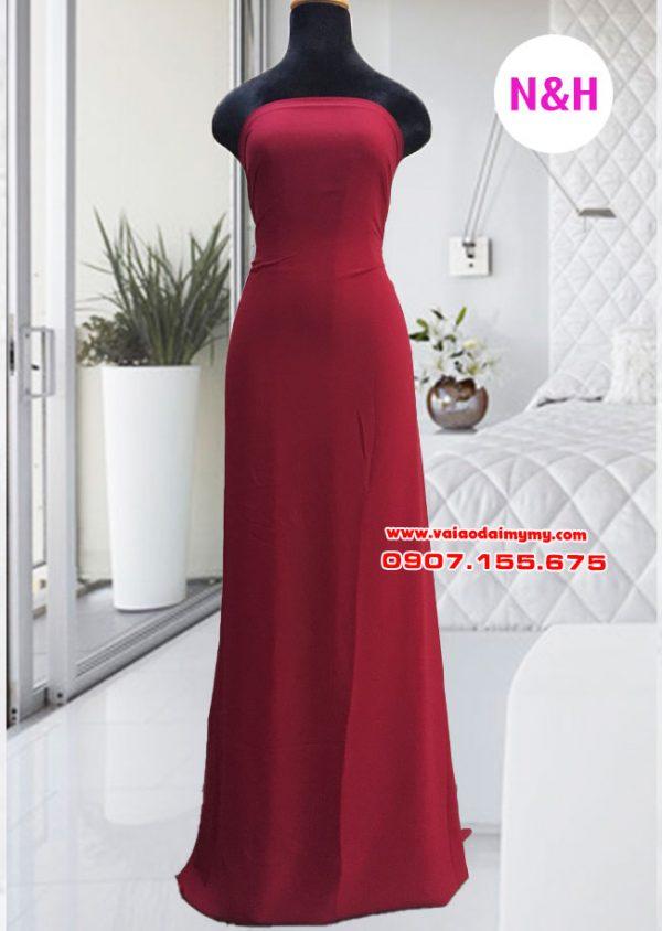 vải áo dài trơn màu đỏ đô