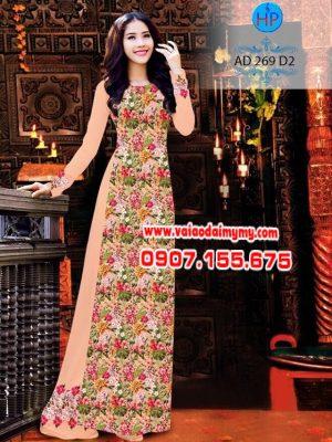 Vải áo dài hoa toàn thân AD 269