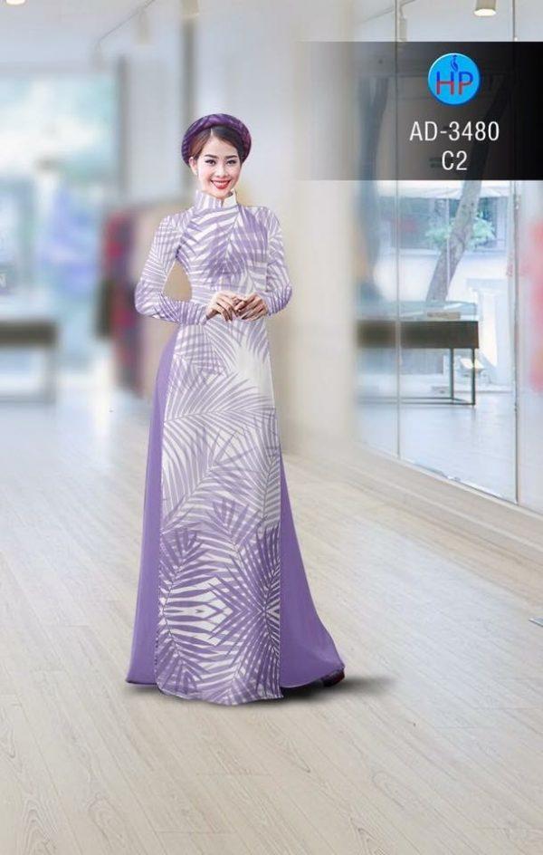 Vải áo dài hình lá AD 3480