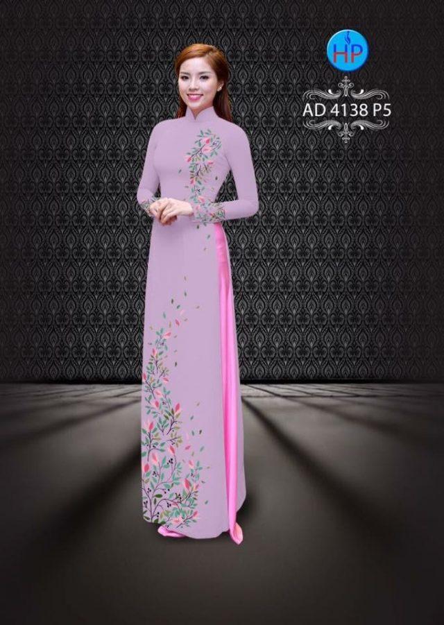 Vải áo dài hình lá AD 4138