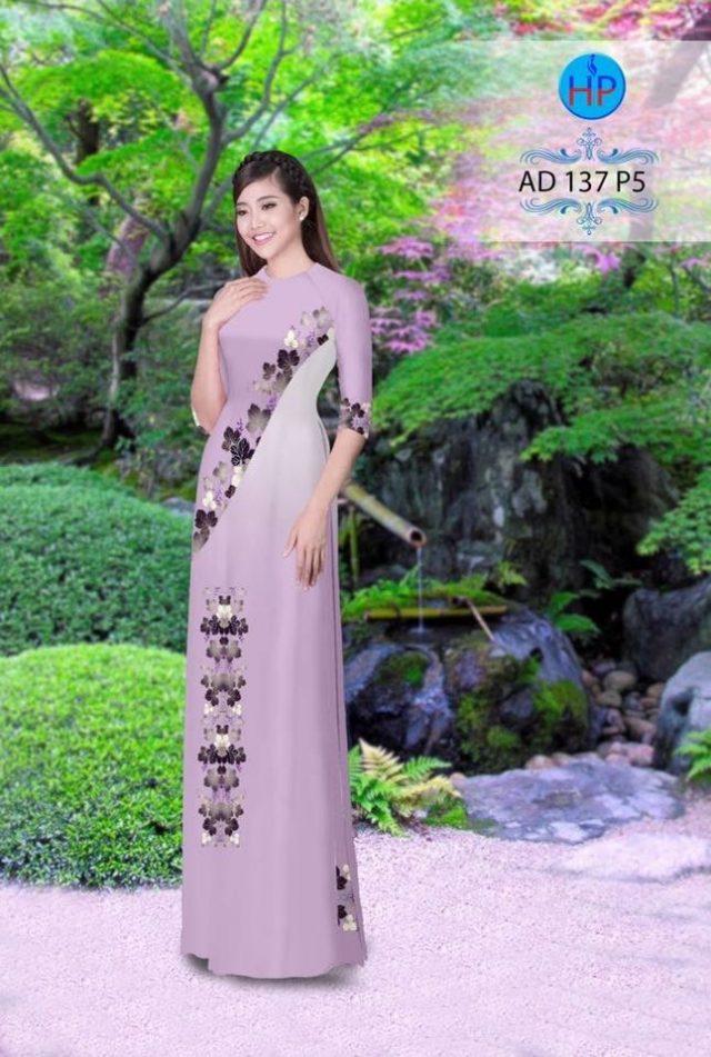 Vải áo dài hình lá AD 137
