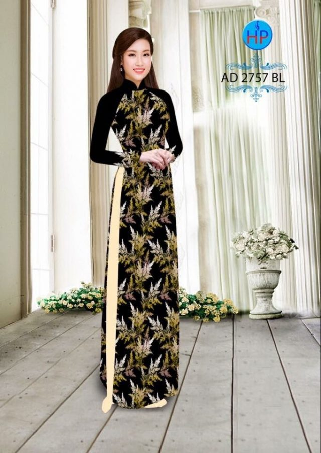 Vải áo dài hình lá AD 2757