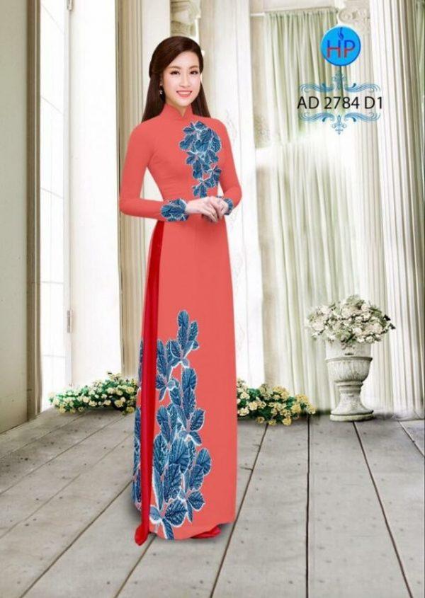 Vải áo dài hình lá AD 2784