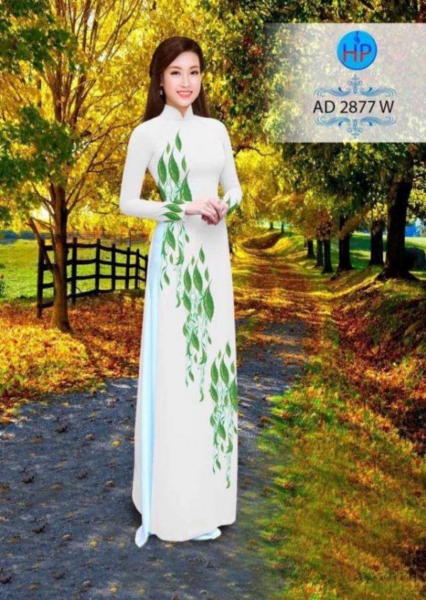 Vải áo dài hình lá AD 2877