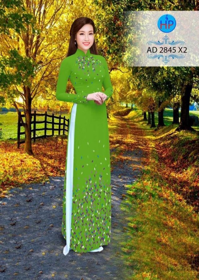Vải áo dài hình lá AD 2845