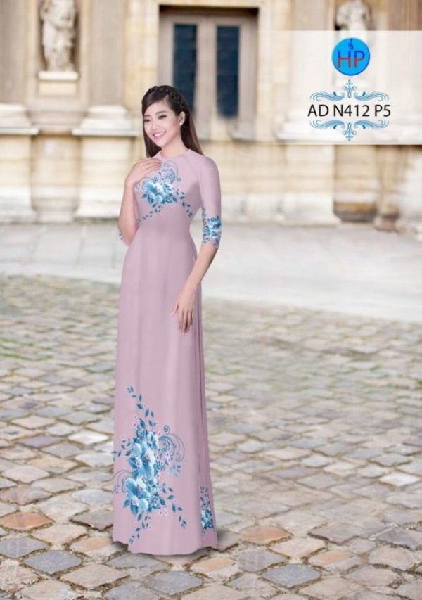 Vải áo dài hoa ảo trên dưới AD N412