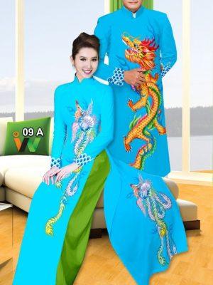 Vải áo dài cặp đôi rồng phượng AD IW 09