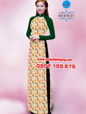 Vải áo dài hình lá AD 876