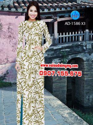 Vải áo dài hình lá AD 1586