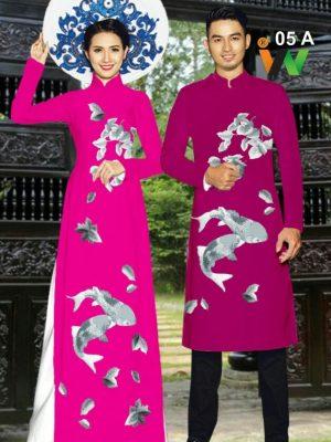 Vải áo dài cặp đôi cá chép AD IW 05