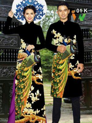 Vải áo dài cặp đôi chim phụng AD IW 01