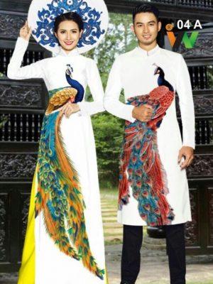 Vải áo dài cặp đôi chim công AD IW 04