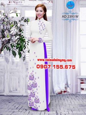 Vải áo dài hình hoa bồ công anh AD 2393