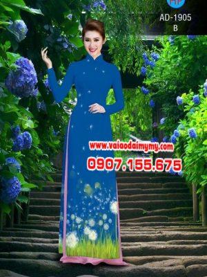 Vải áo dài hình hoa bồ công anh AD 1905