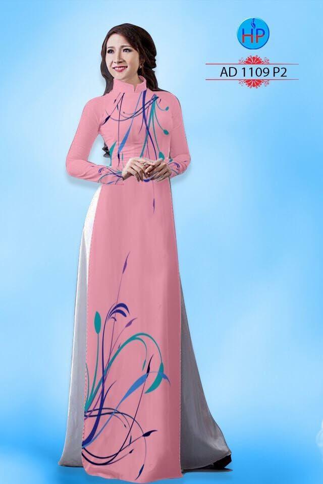 Vải áo dài hình hoa lá AD 1109