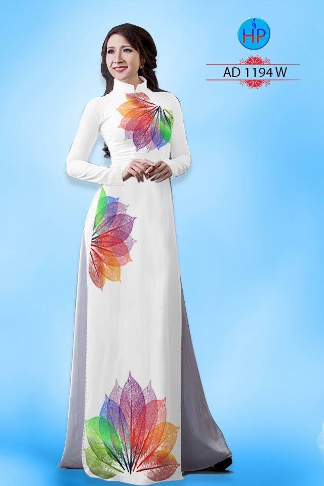 Vải áo dài hình lá AD 1194