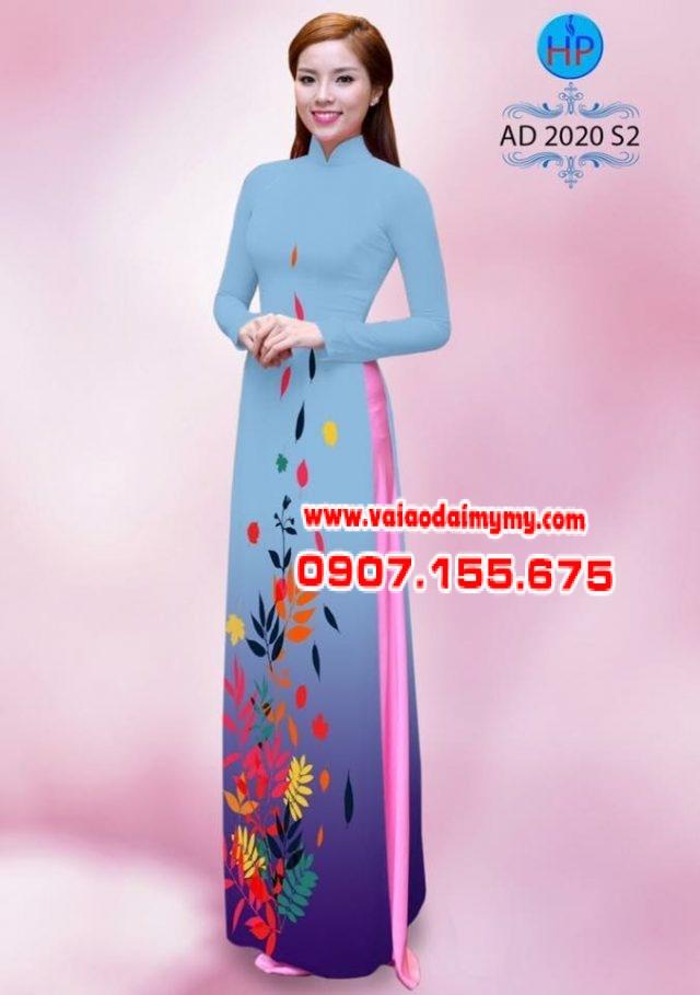 Vải áo dài hình lá AD 2020