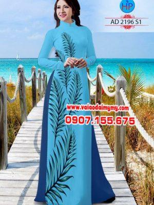 Vải áo dài hình lá AD 2196