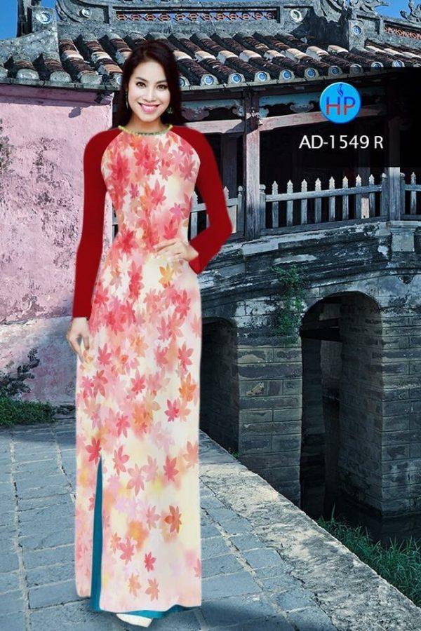Vải áo dài hình lá AD 1549