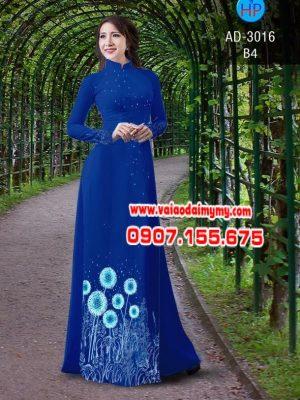 Vải áo dài hình hoa bồ công anh AD 3016
