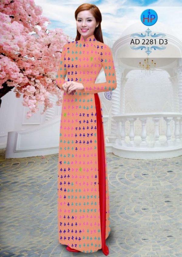 Vải áo dài hình lá AD 2278