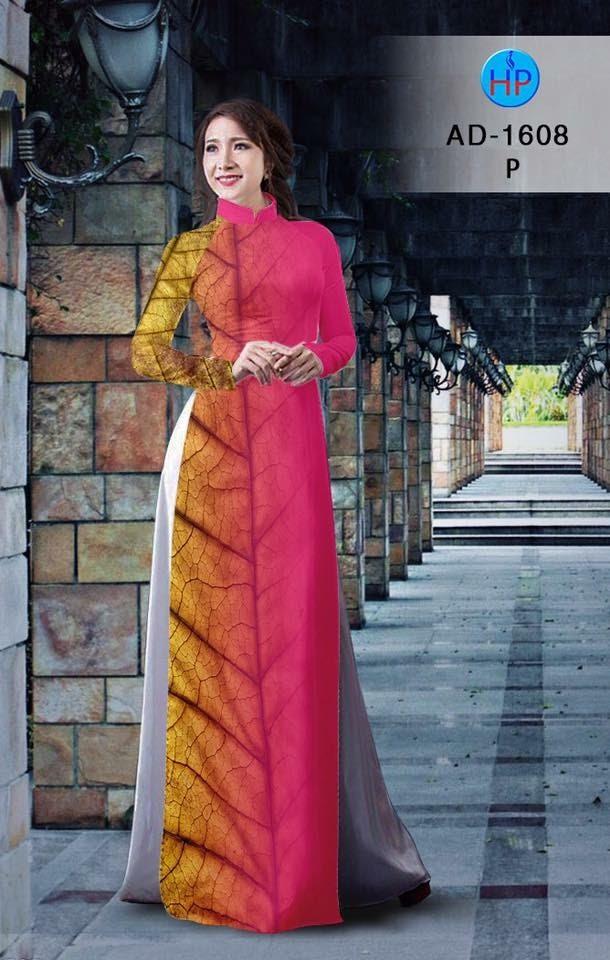 Vải áo dài hình lá AD 1608