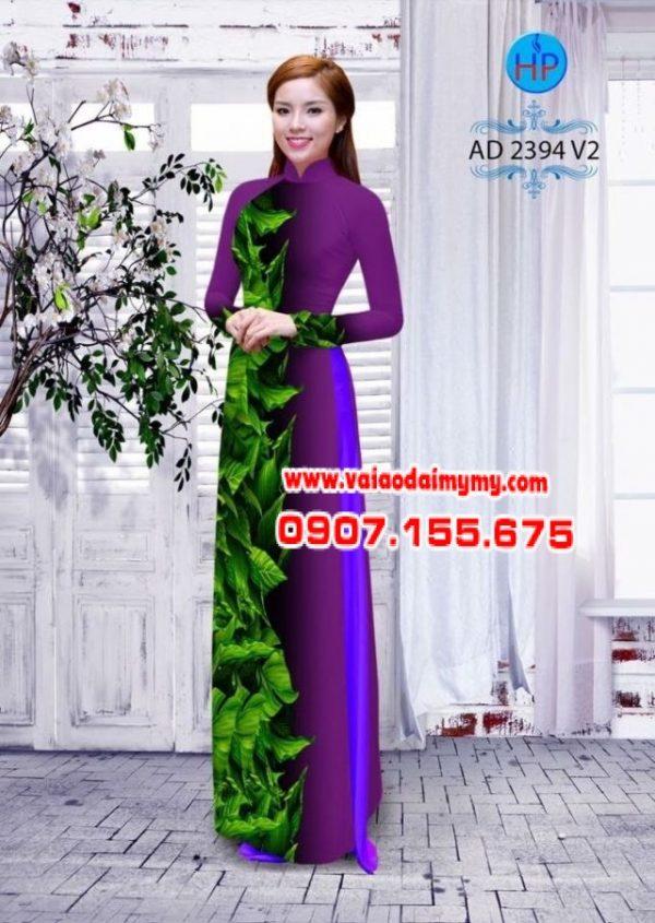 Vải áo dài hình lá AD 2394