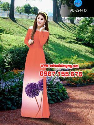 Vải áo dài hình hoa bồ công anh AD 3244