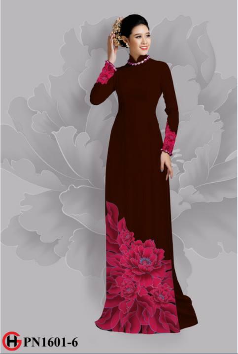 Vải áo dài hoa đẹp dưới tà AD 34