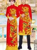 Vải áo dài cặp đôi hình rồng