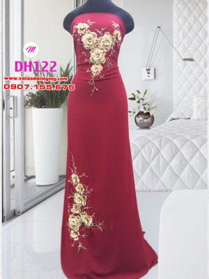 vải áo dài cô dâu đơn giản đính hoa trên áo (2)