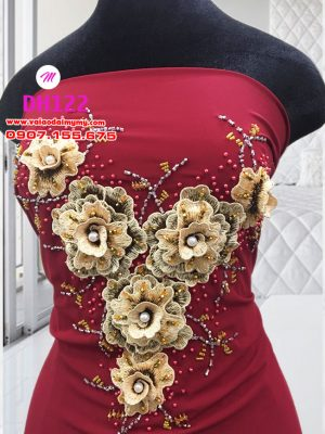 vải áo dài cô dâu đơn giản đính hoa trên áo (3)