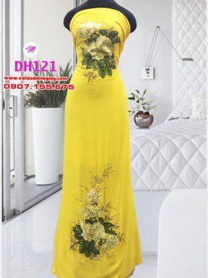 vải áo dài đính hoa hồng đẹp cho co dâu (1)