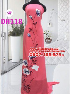 vải áo dài màu hông dâu vẽ hoa đẹp (1)