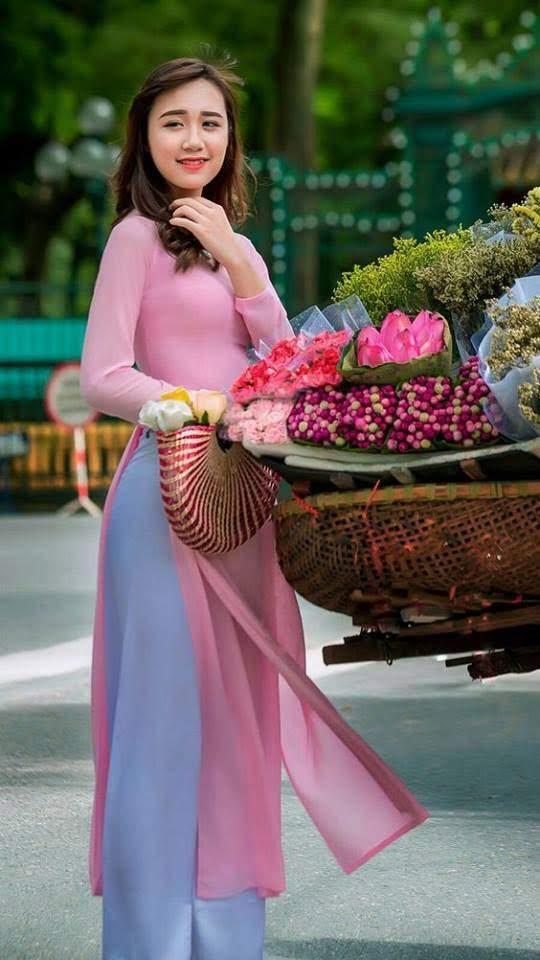 vải áo dài màu hồng đẹp