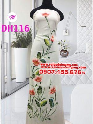 vải áo dài màu trắng vẽ hoa tulip sang trọng (2)