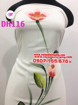 vải áo dài màu trắng vẽ hoa tulip sang trọng (3)