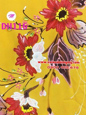 vải áo dài màu vàng vẽ hoa hướng dương đẹp (1)