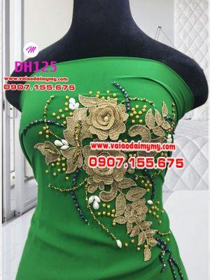 vải áo dài màu xanh lá cây đính hoa đẹp (1)