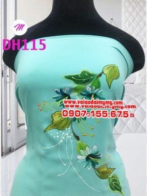 vải áo dài màu xanh ngọc vẽ hình hoa lá cực đẹp (1)