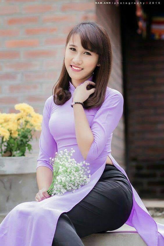 vải áo dài một màu màu tím