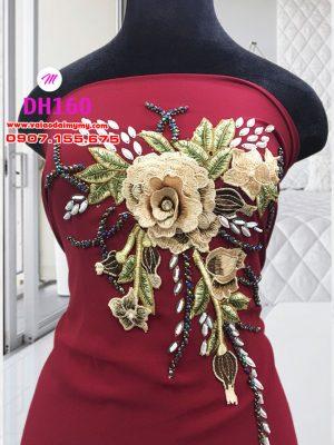 vải áo dài sang trọng màu đỏ đính hoa (1)