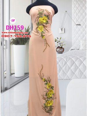vải áo dài sui trẻ trung đẹp đính hoa (1)