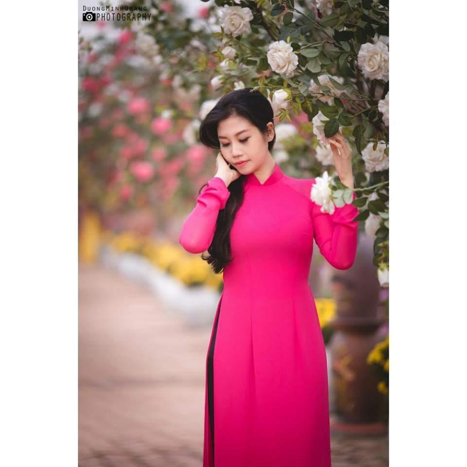 vải áo dài trơn màu hồng đậm