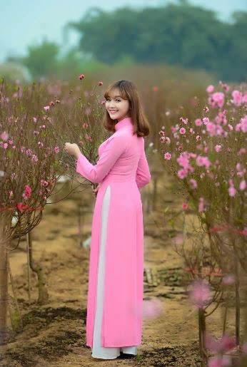 vải áo dài trơn màu hồng cánh sen