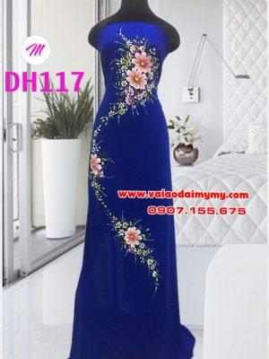 vải áo dài vẽ hoa đẹp màu xanh dương đậm (2)